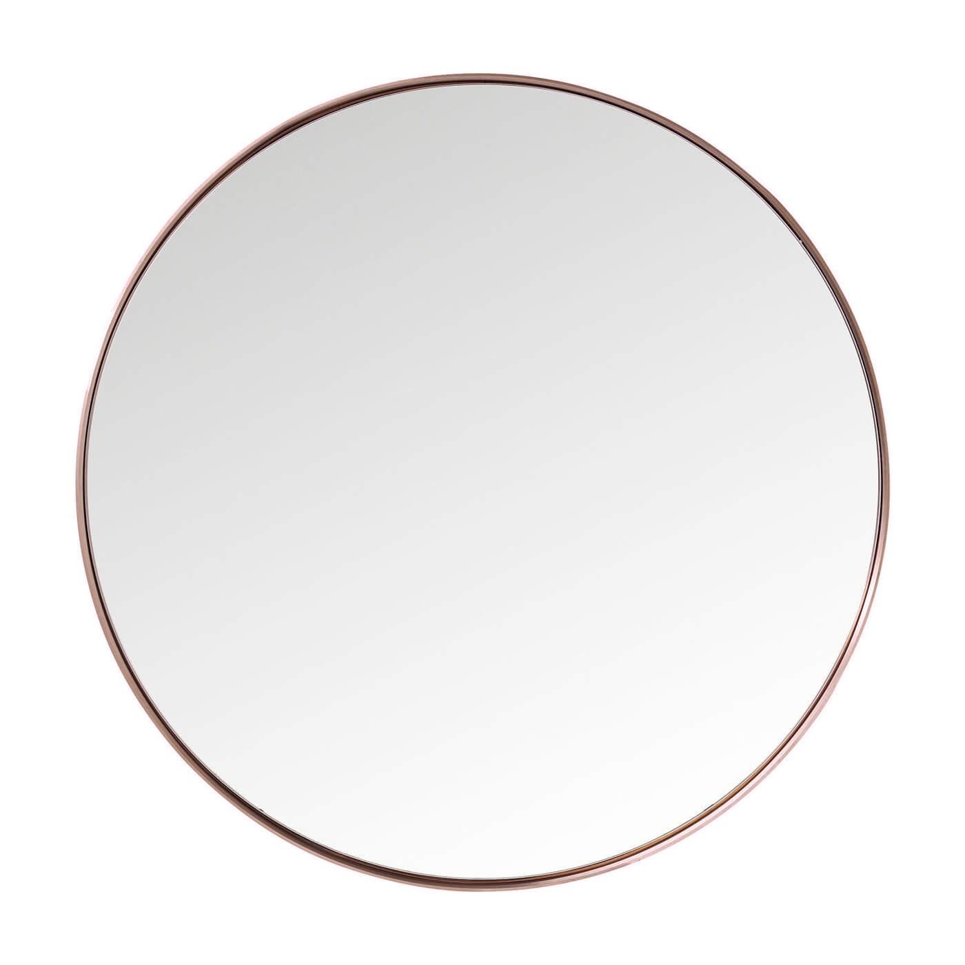 Miroir rond en métal cuivré D100