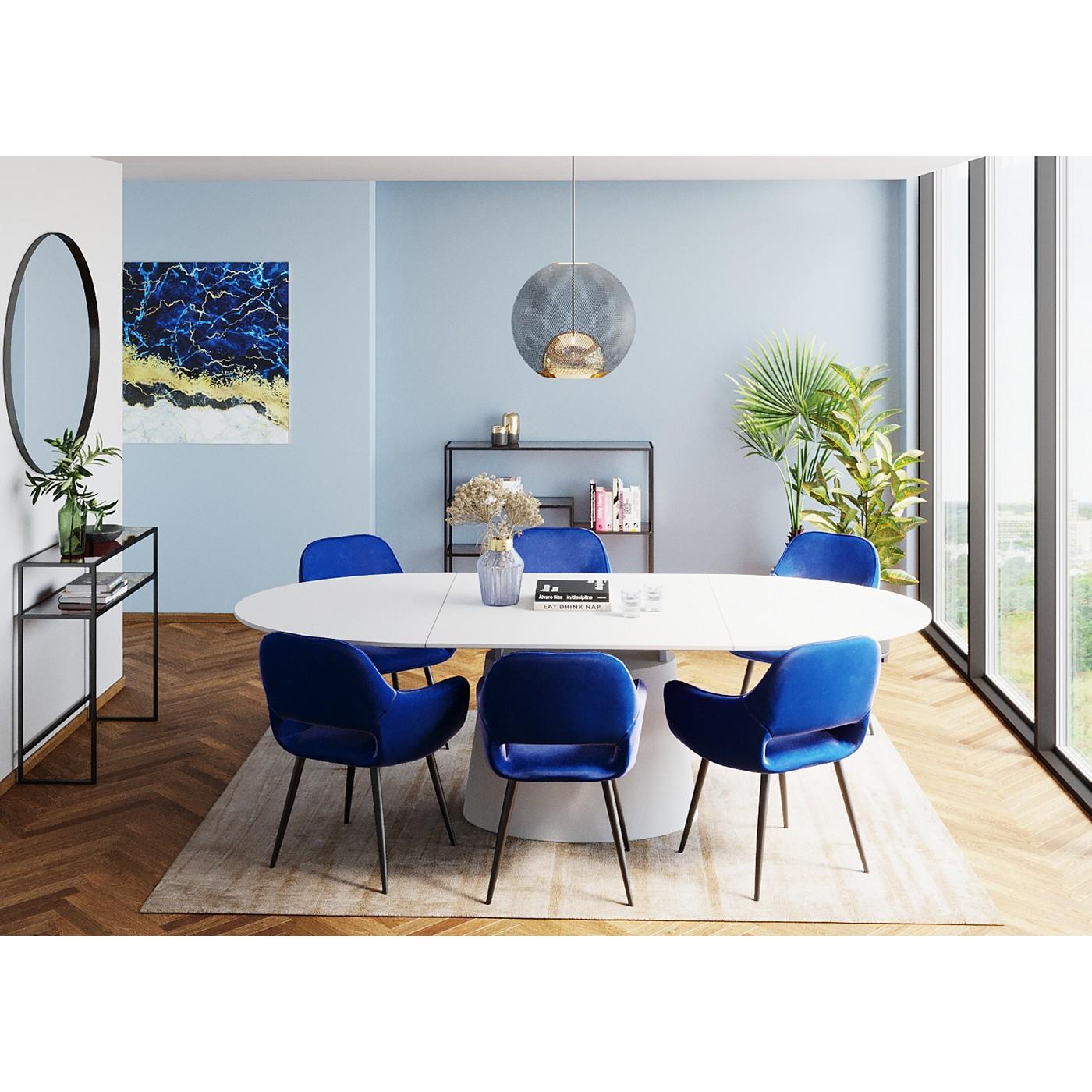 Table à manger 8 personnes extensible blanche L200/250
