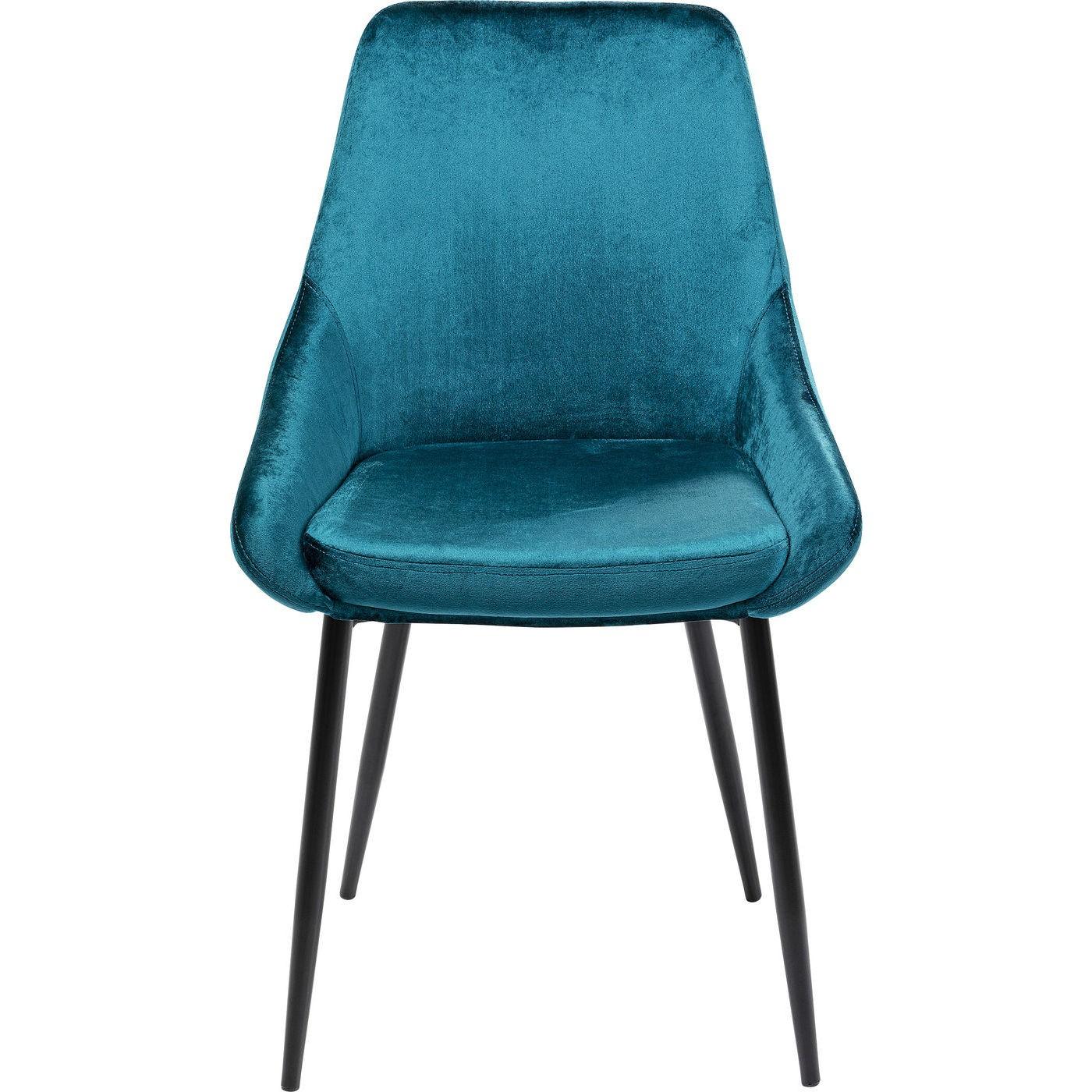 Chaise en velours bleu-vert et acier