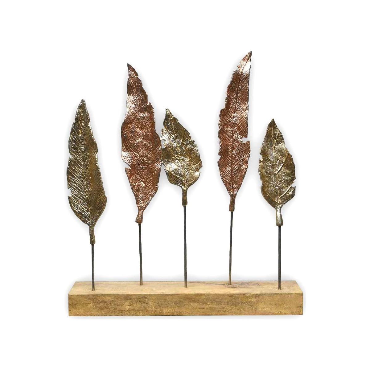 ABACHI - Feuilles en métal sur socle décorat Naturel 50x8x52 cm