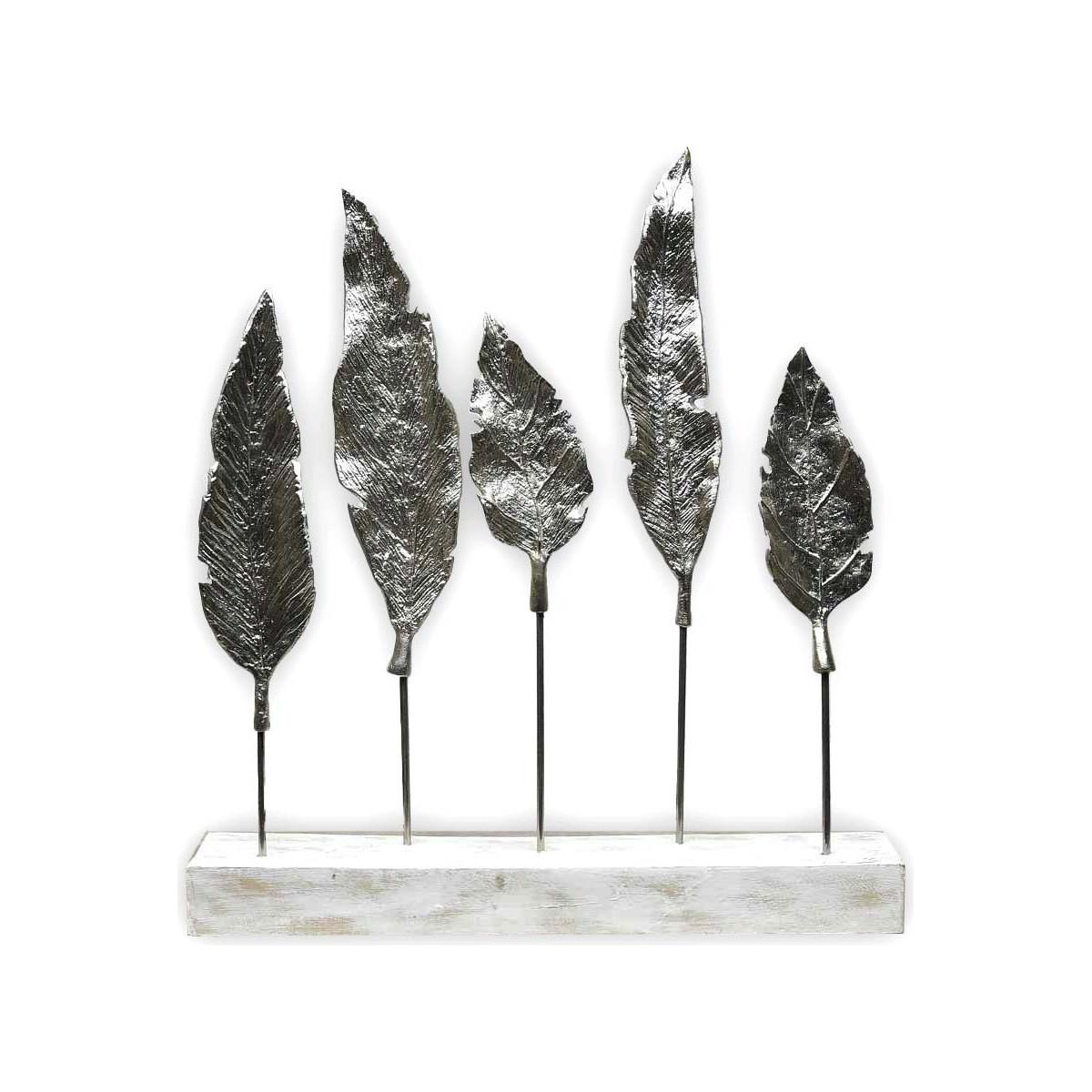 Feuilles en métal sur socle décorat Blanc 50x8x52 cm