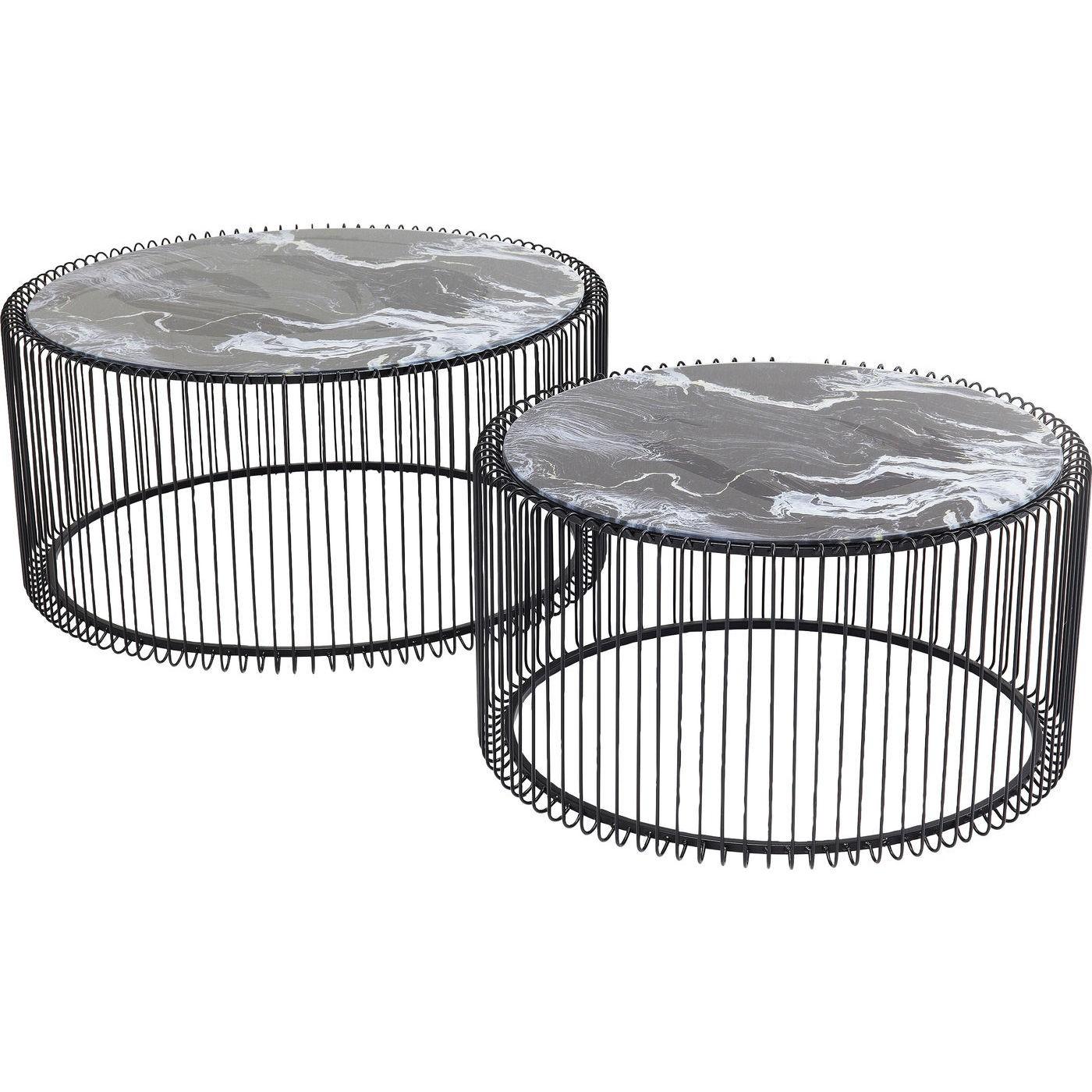 2 tables basses rondes en acier noir et verre effet marbre