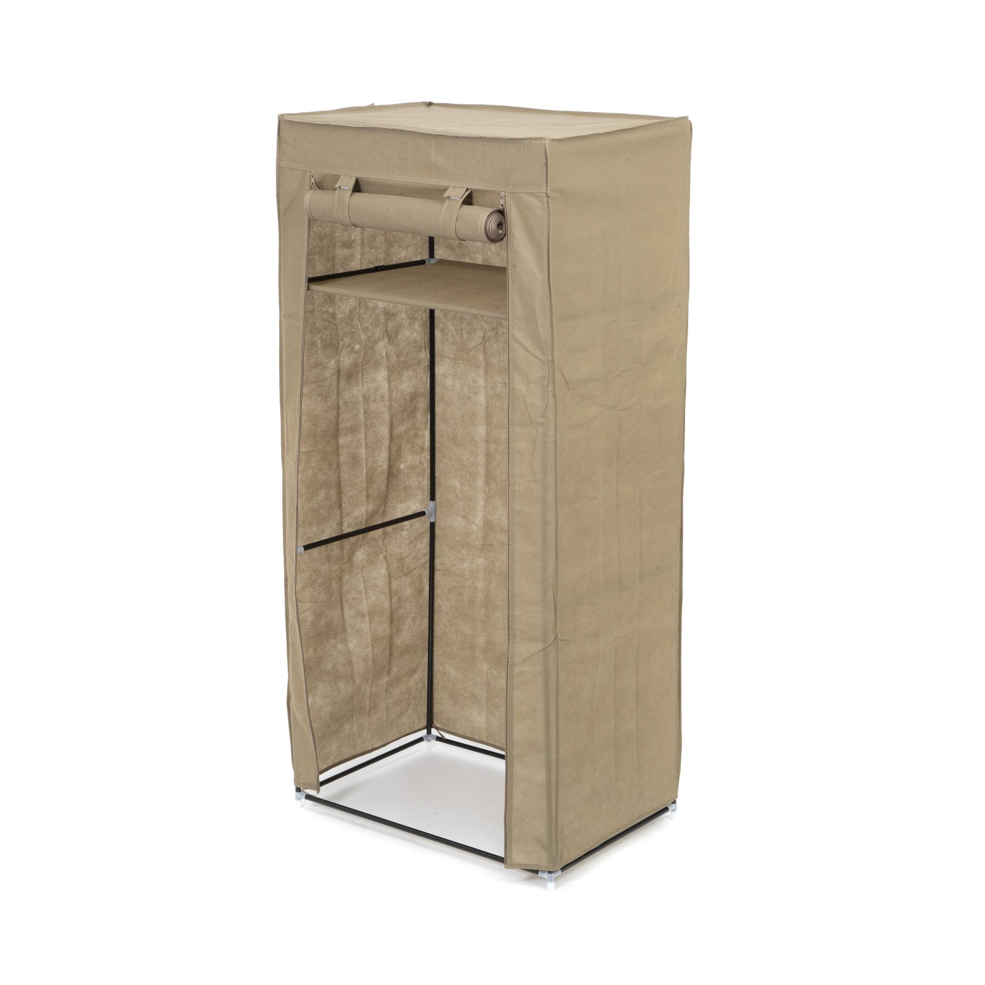 Armoire penderie housse zippée marron H148cm