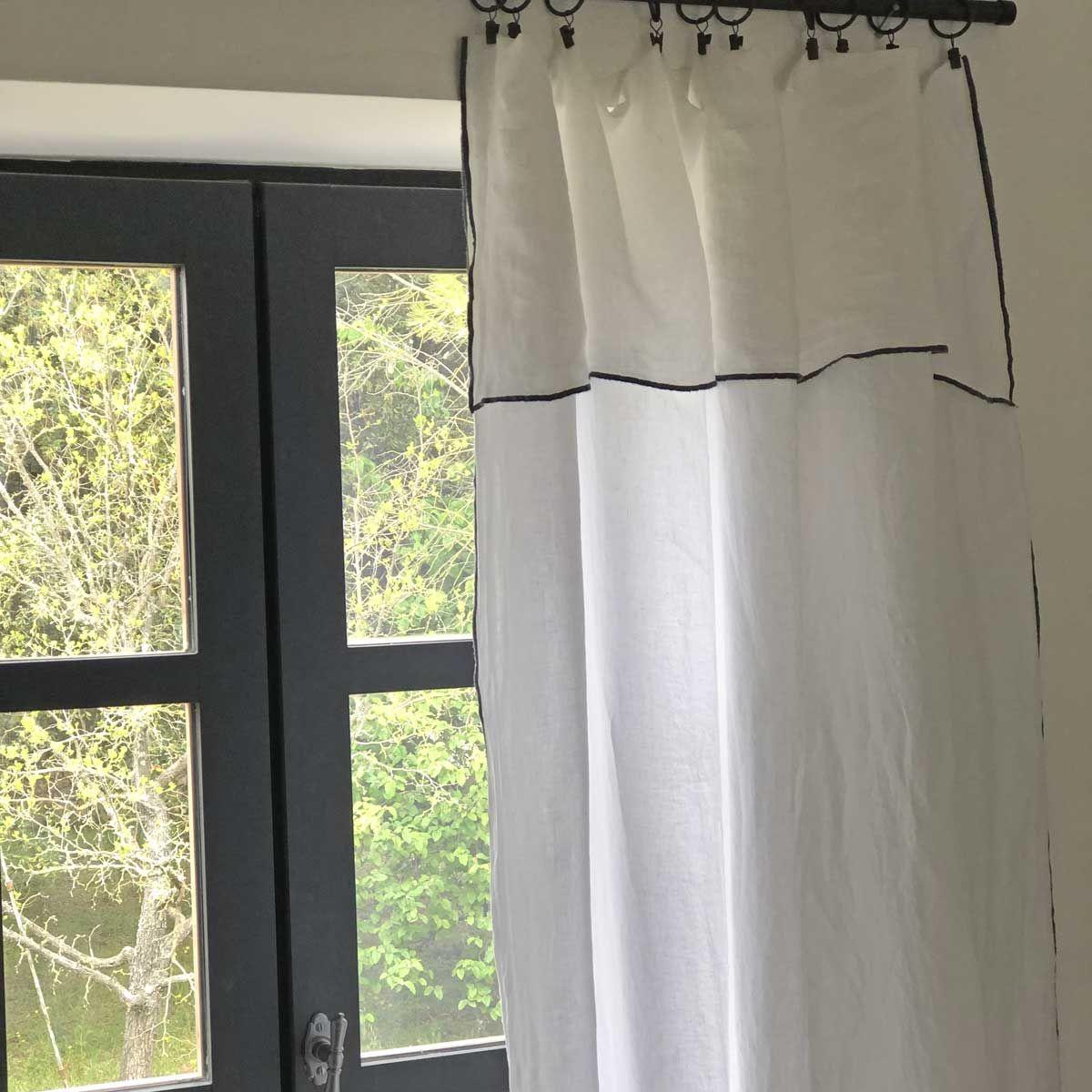 Nappe en lin lavé et surjet blanc - 170 x 250