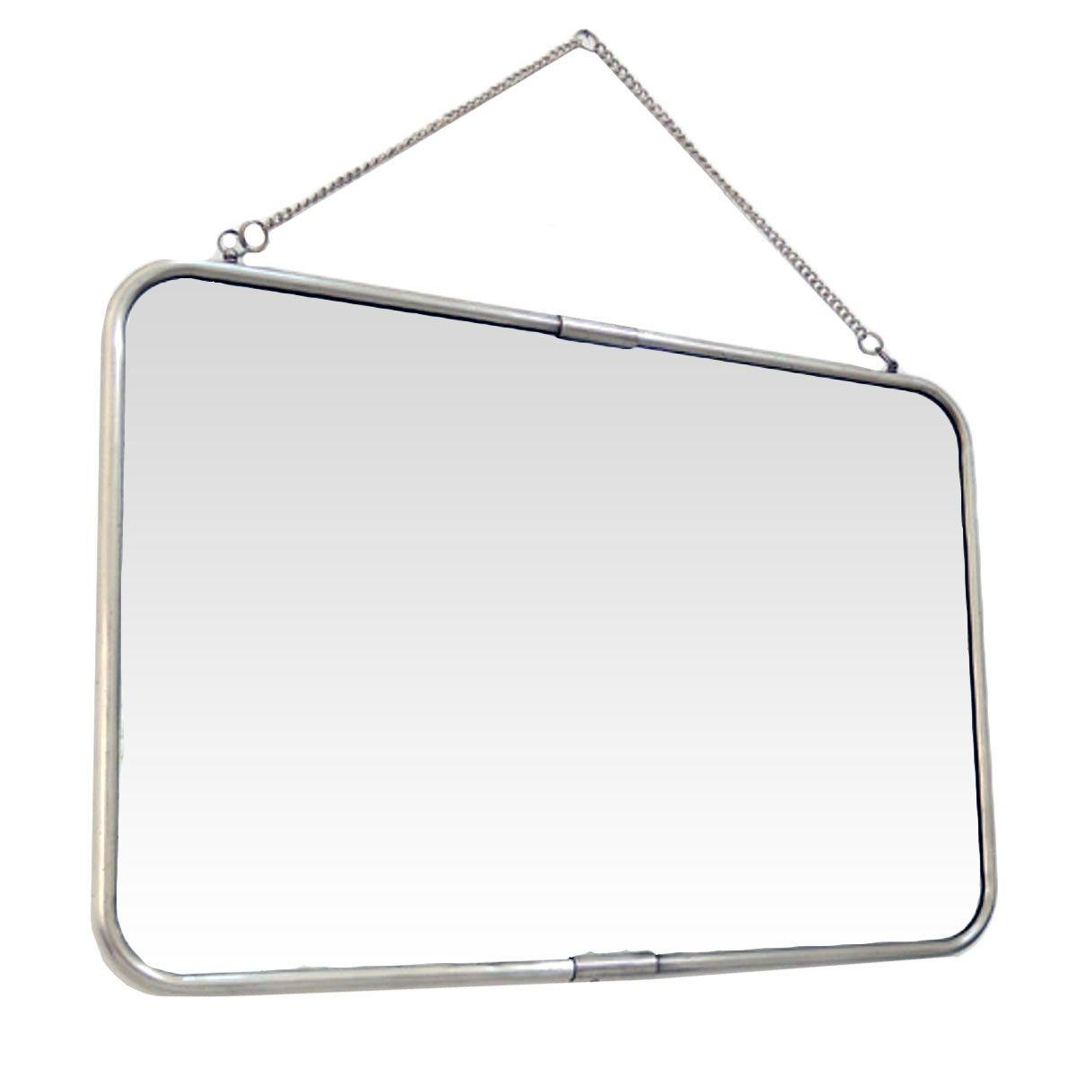 Miroir de barbier avec chaîne argent 40x57