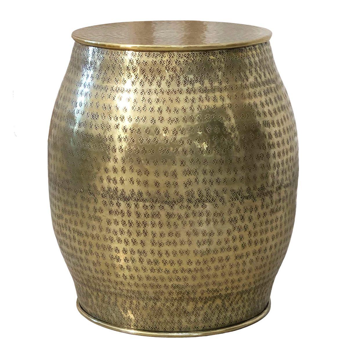 Tabouret indien en aluminium  argent