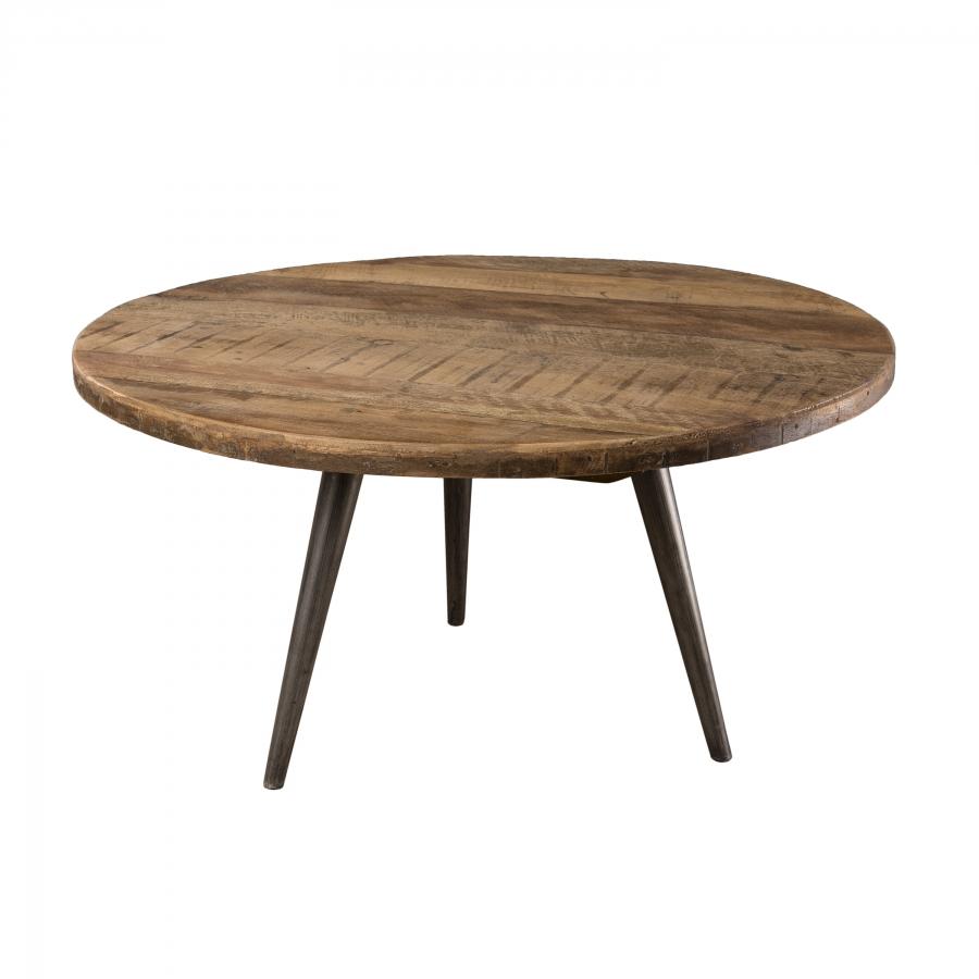 Table basse d'appoint ronde bois teck recyclé et pieds métal