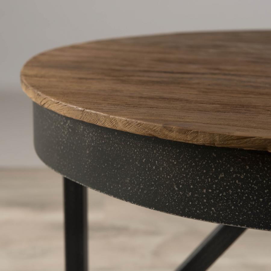 Table basse ronde d'appoint bois et métal