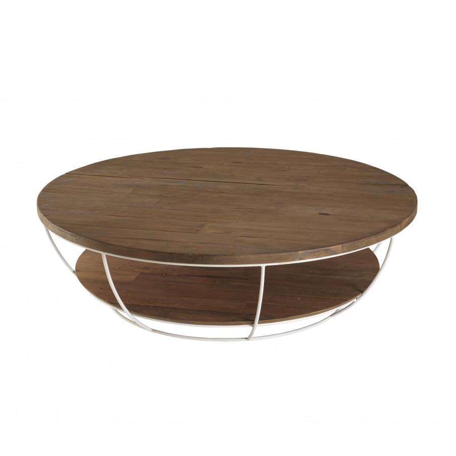 maison du monde Table basse coque 2 plateaux 120 bois teck recyclé métal blanc