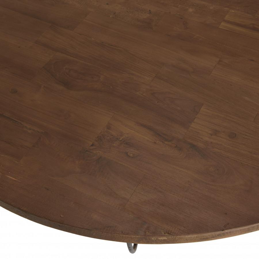 Table basse coque 2 plateaux 120 bois teck recyclé métal noir