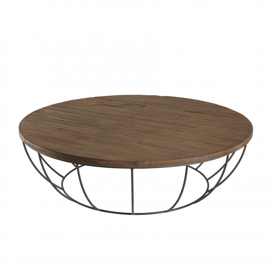 maison du monde Table basse coque 120 cm bois teck recyclé métal noir