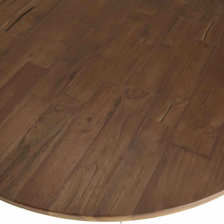 Table basse coque 120 cm bois teck recyclé métal blanc
