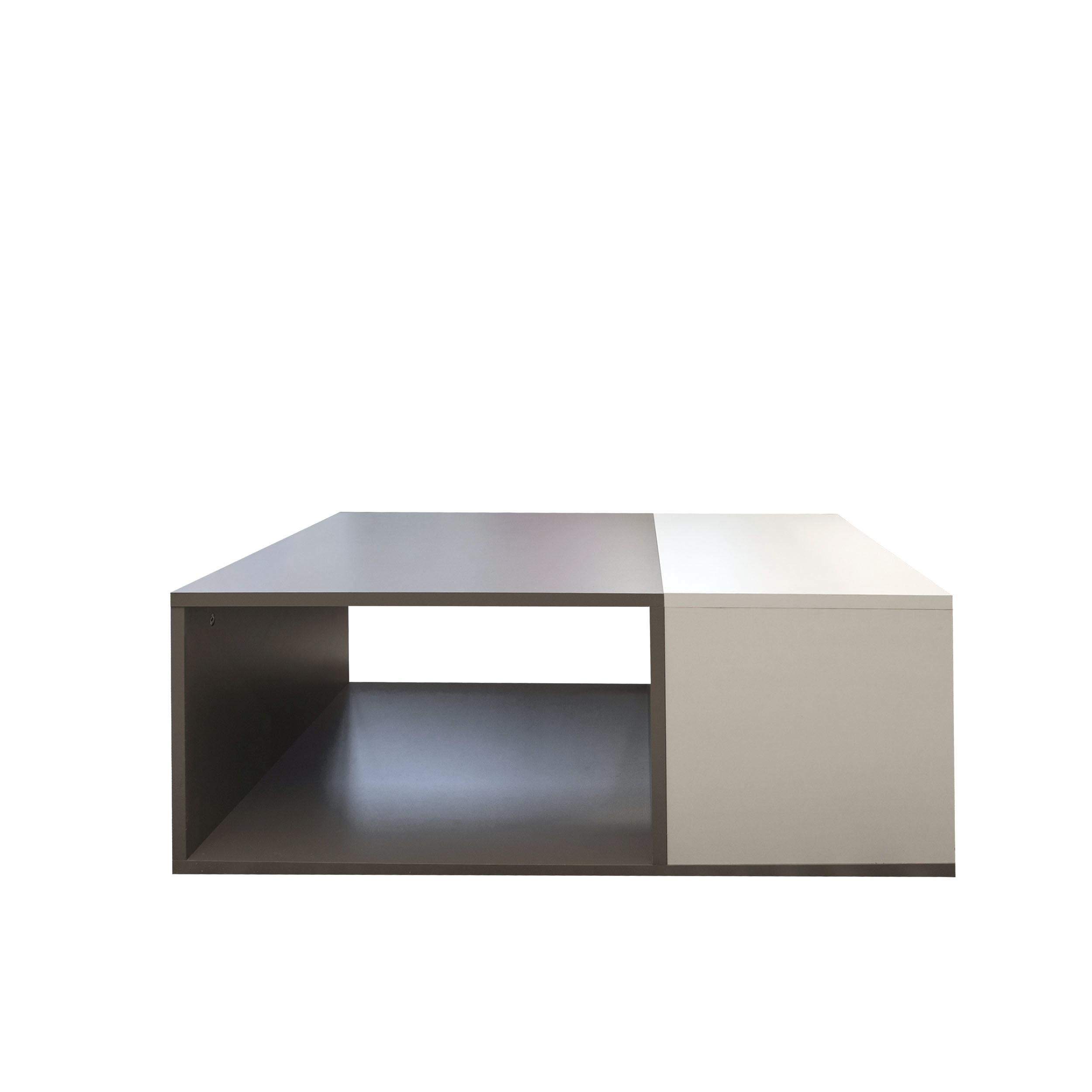 Table Basse effet bois Taupe et blanc
