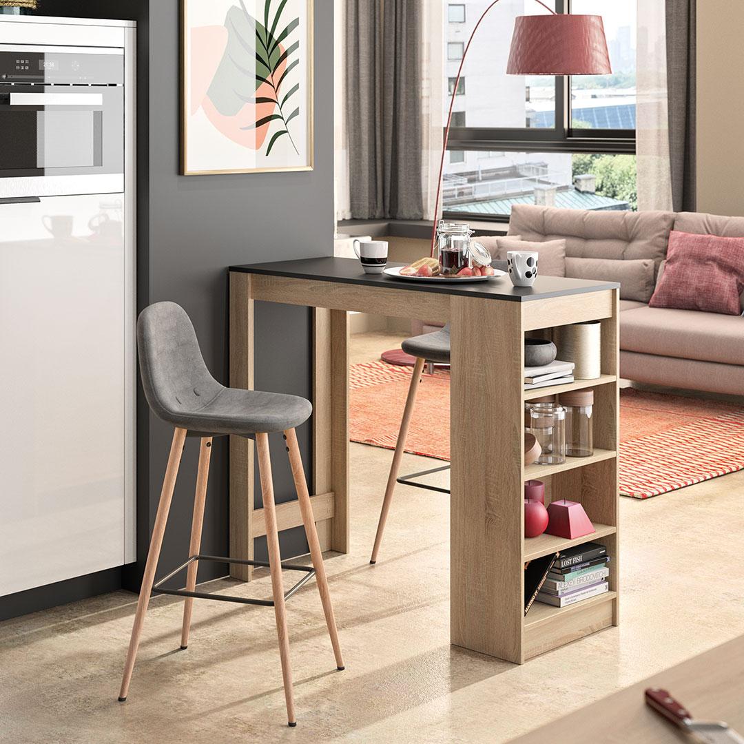 Table et chaises Chêne naturel et noir - Gris anthracite