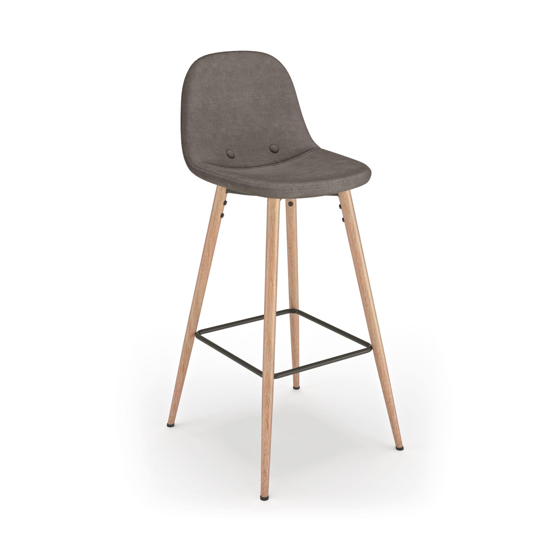 Table et chaises  effet bois Blanc et noir - Gris anthracite