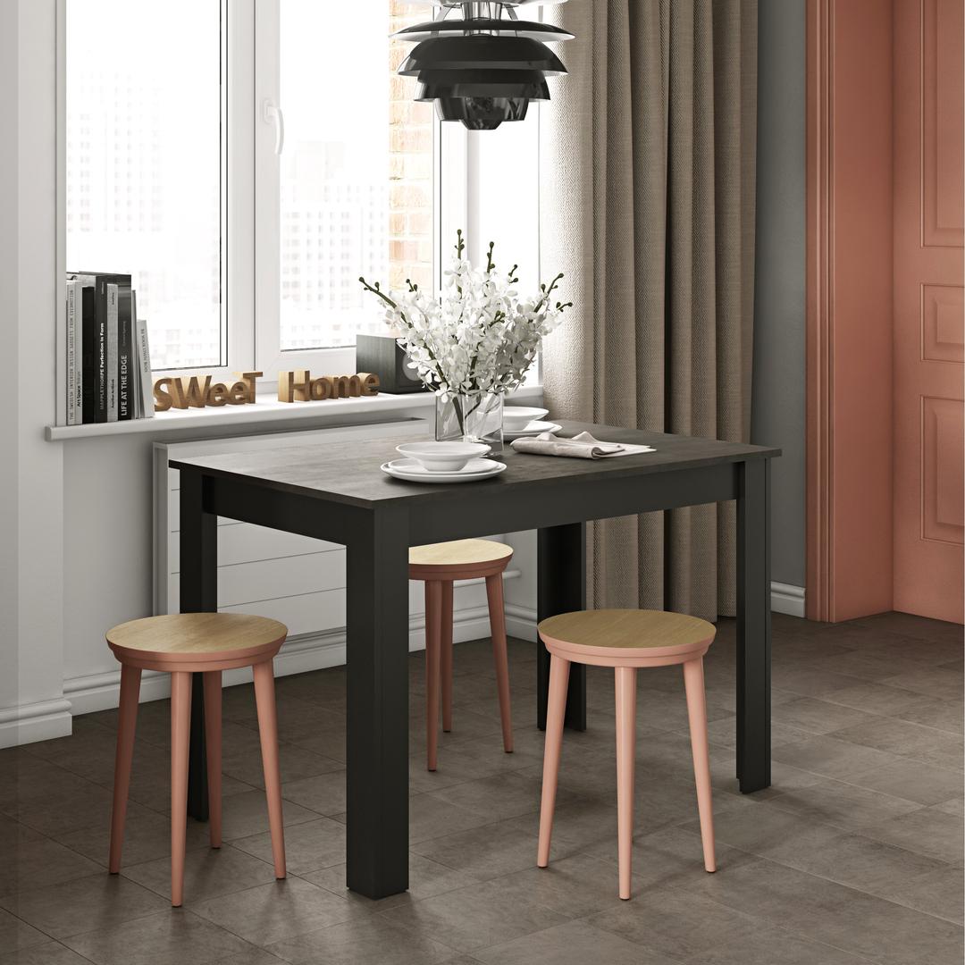 Table  effet bois Noir et béton