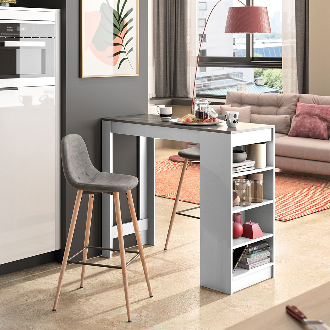 Table et chaises  effet bois Blanc et béton - Gris anthracite