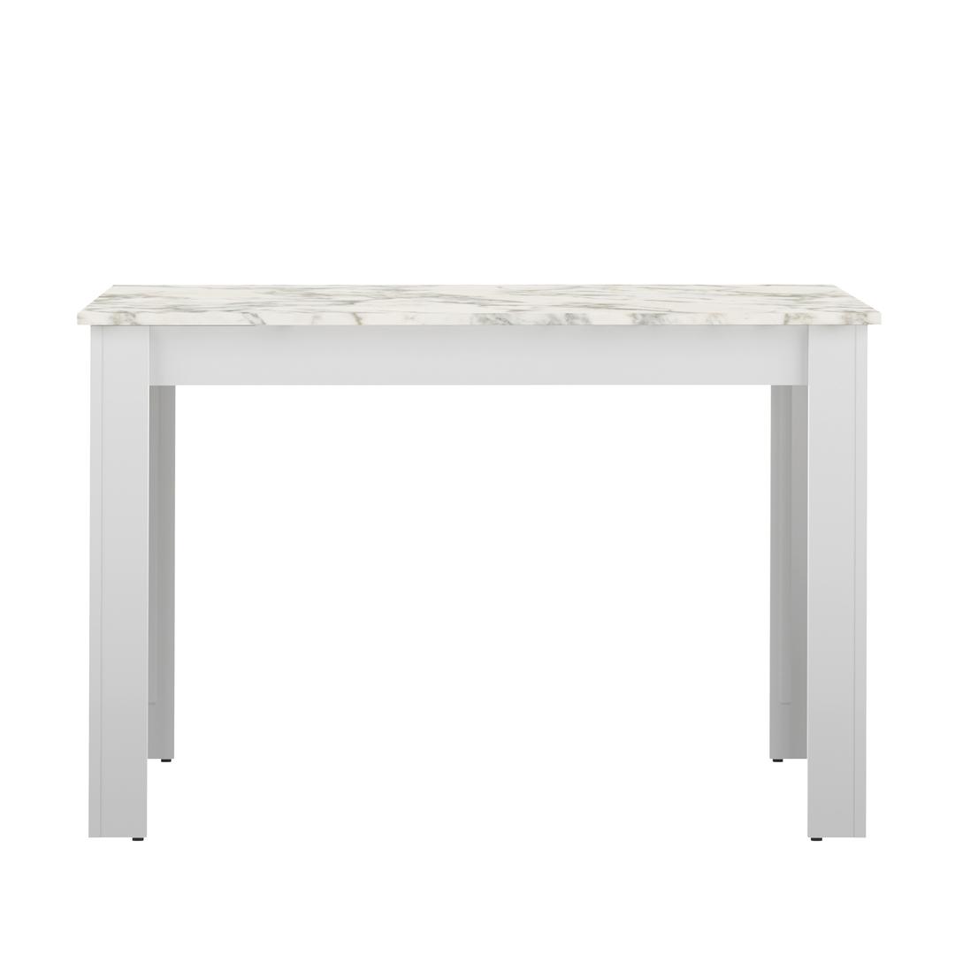 Table  effet bois Blanc et marbre