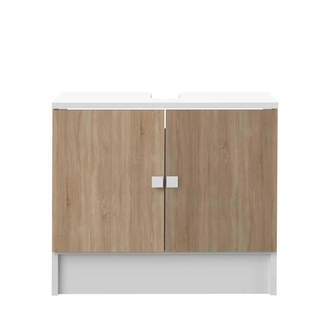 Meuble de salle de bain, Blanc et chêne naturel COMBI