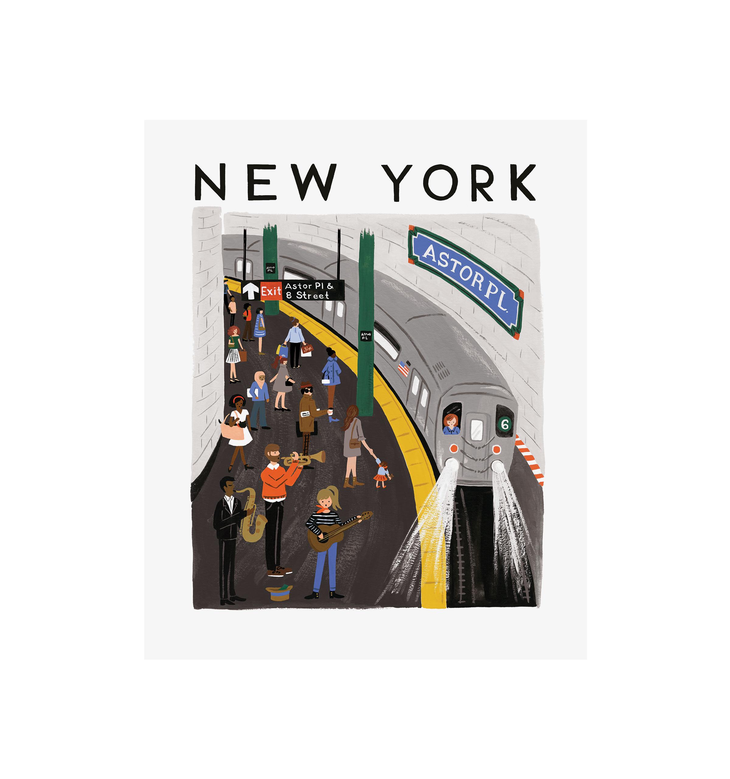 Affiche illustrée new york world traveller 28x35
