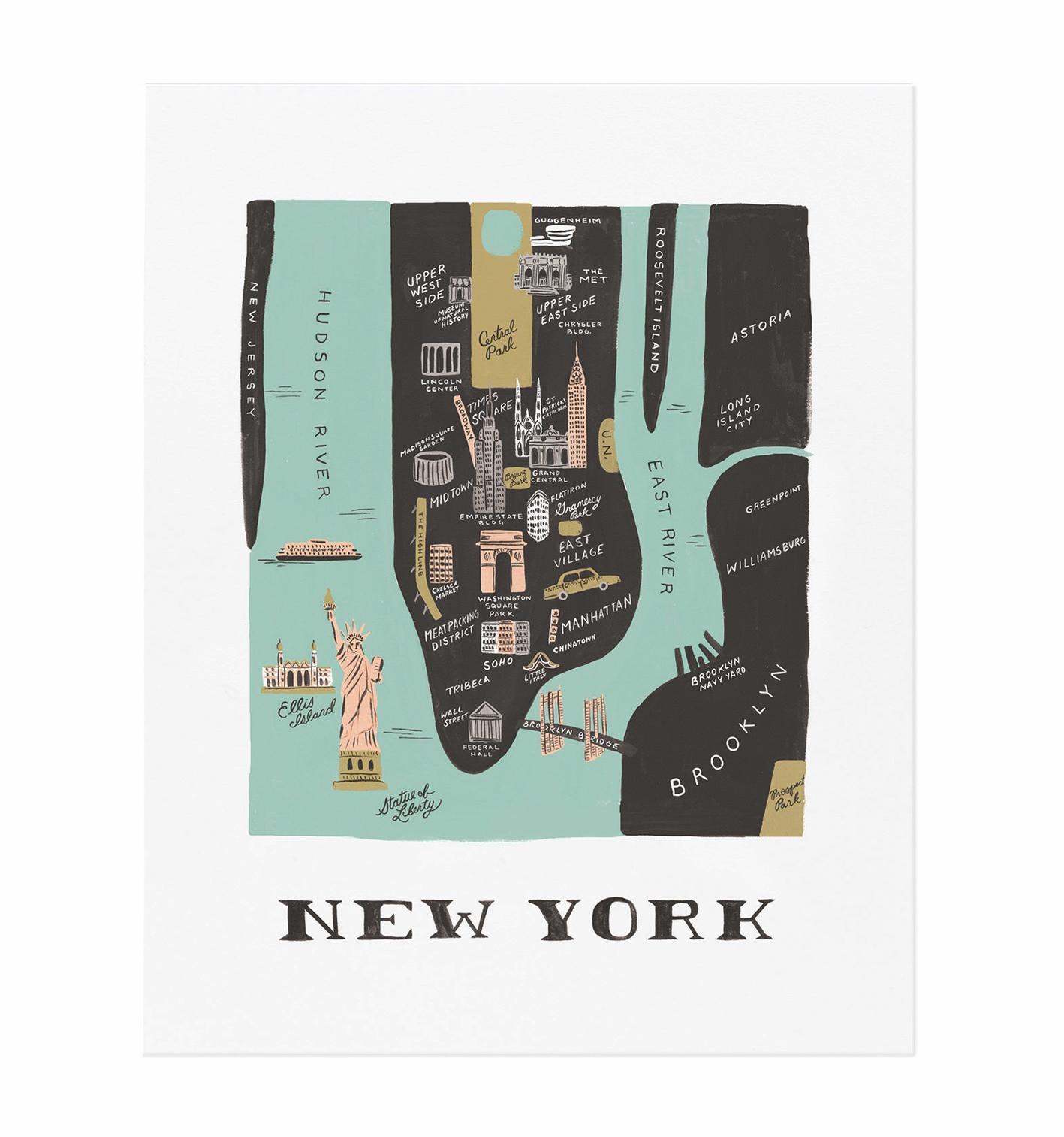 Affiche new york city map 28x35