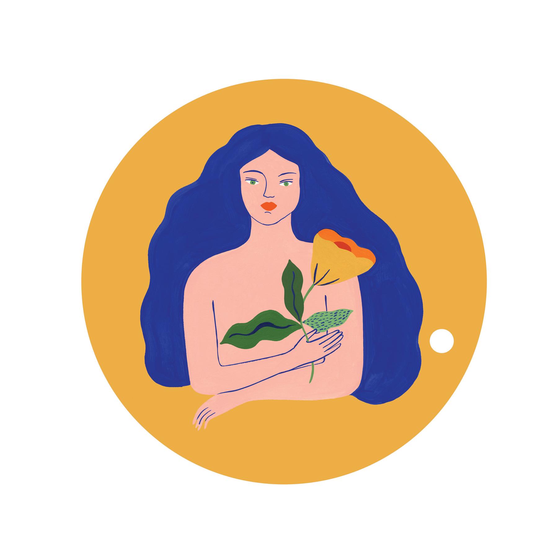 Dessous de plat en bois femme fleur