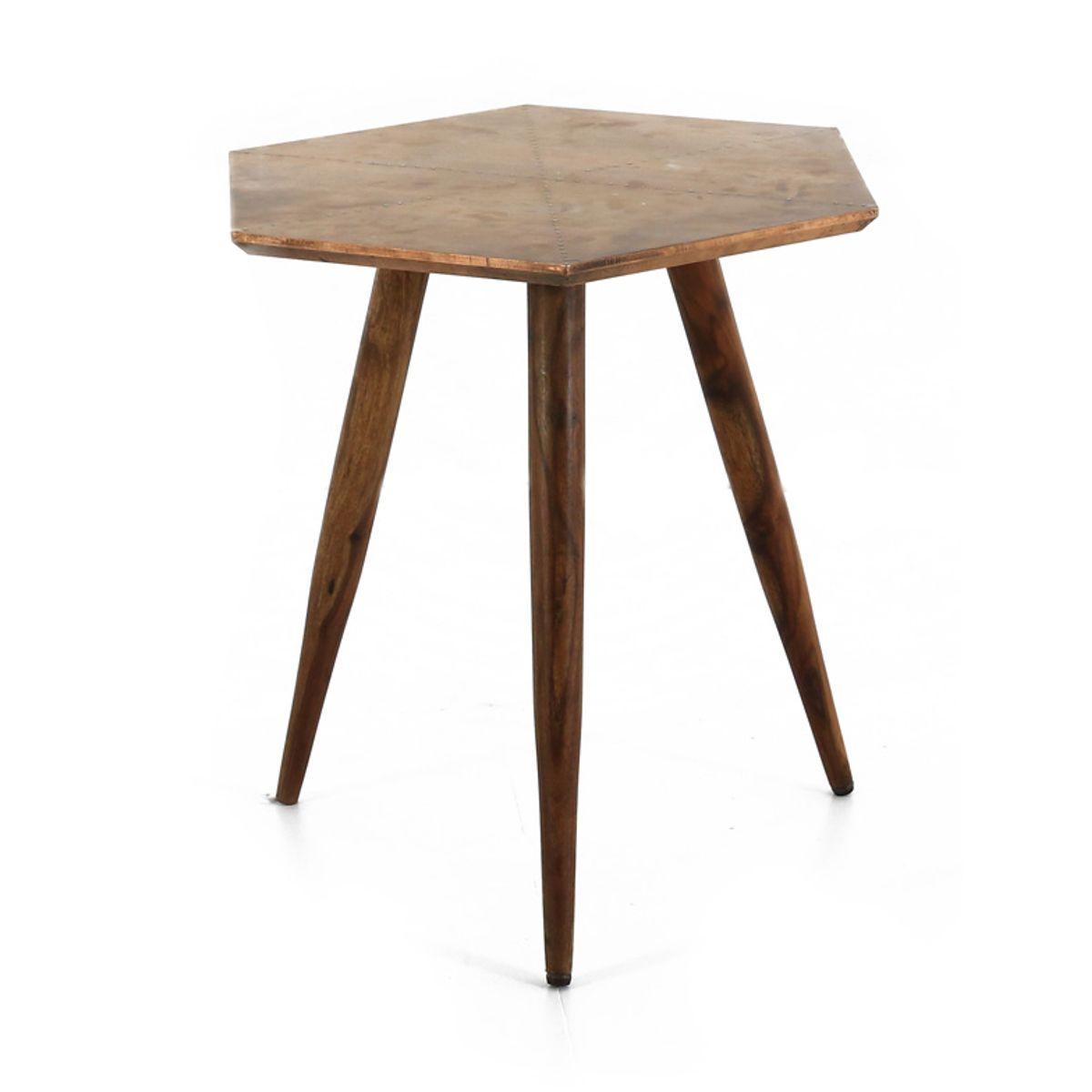 Table basse bois de palissandre et métal  cuivre