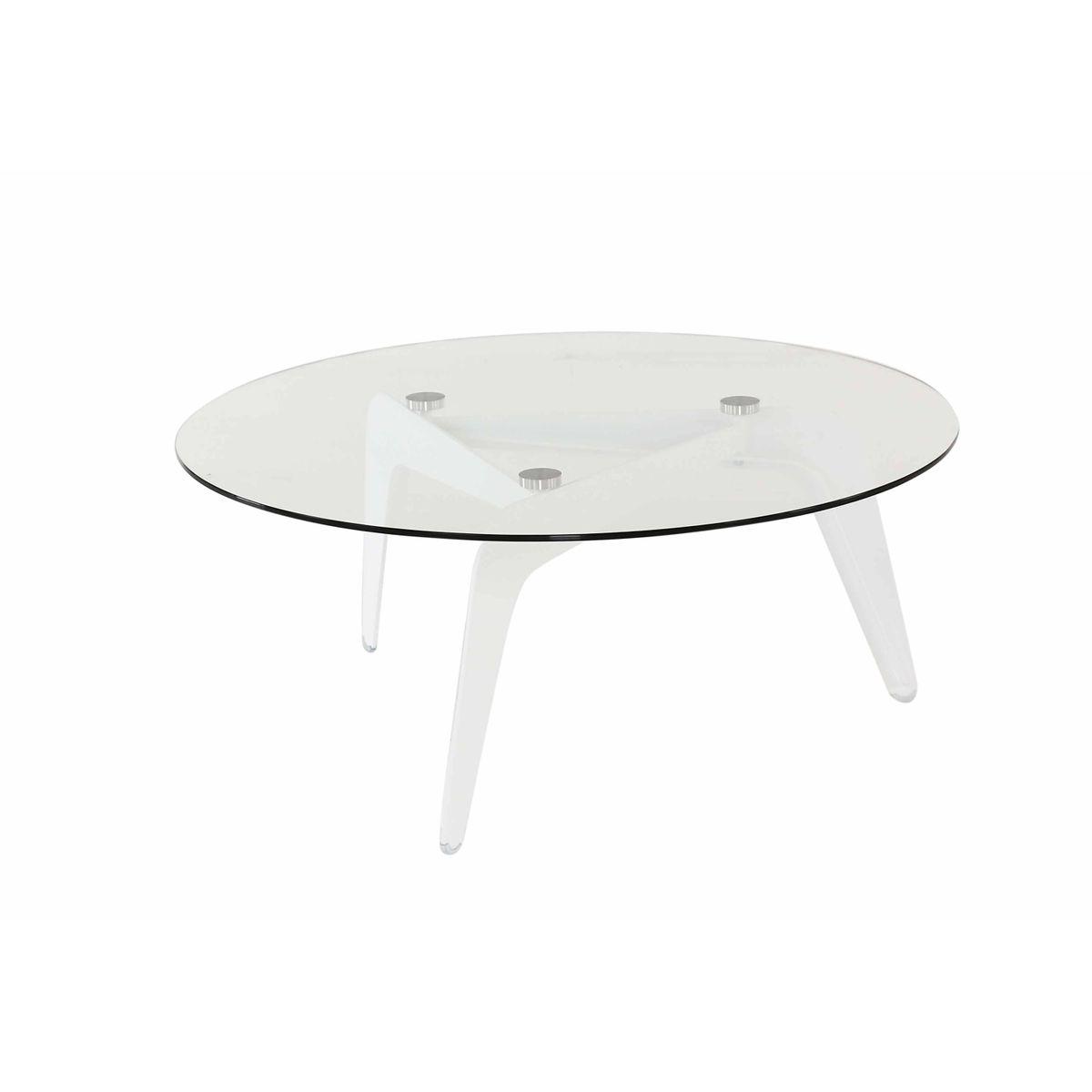 Table basse ronde verre et métal D96 cm Cald