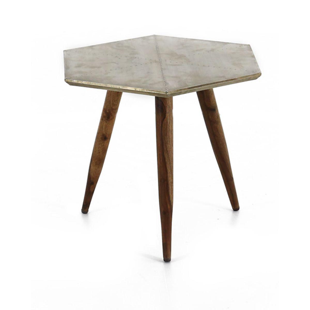 Table basse bois de palissandre et métal gris