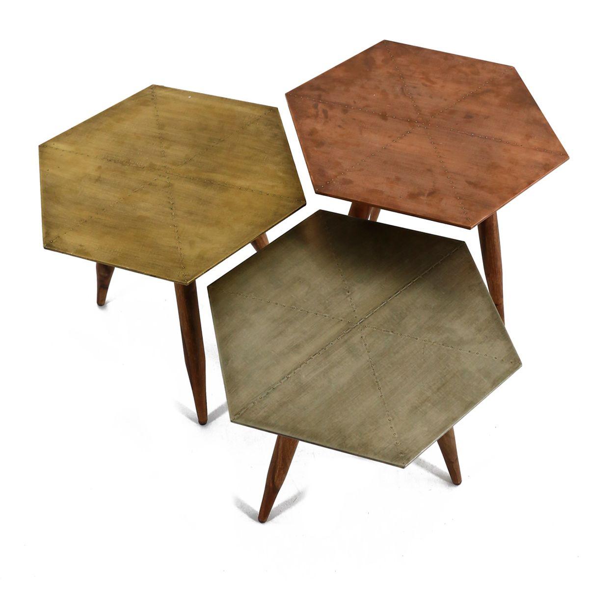Table basse bois de palissandre et métal  jaune