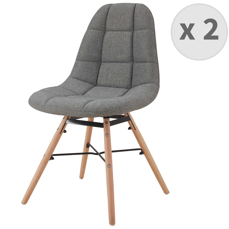 Chaise scandinave tissu gris pieds hêtre (x2)
