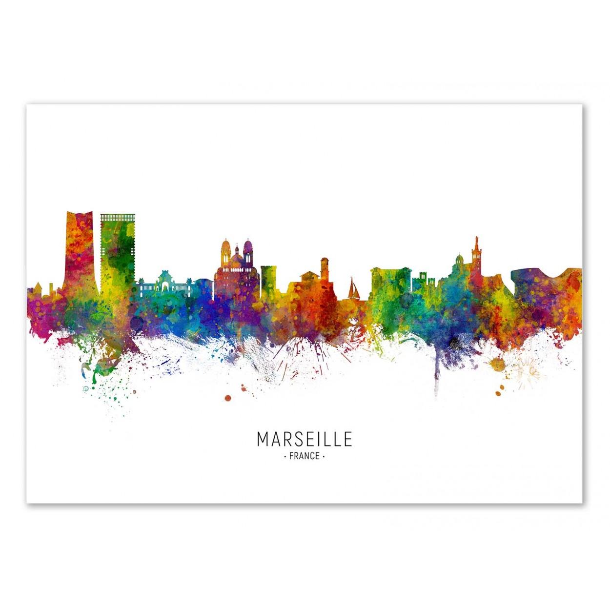 MARSEILLE SKYLINE (COLORED VERSION) - Affiche d'art 50 x 70 cm