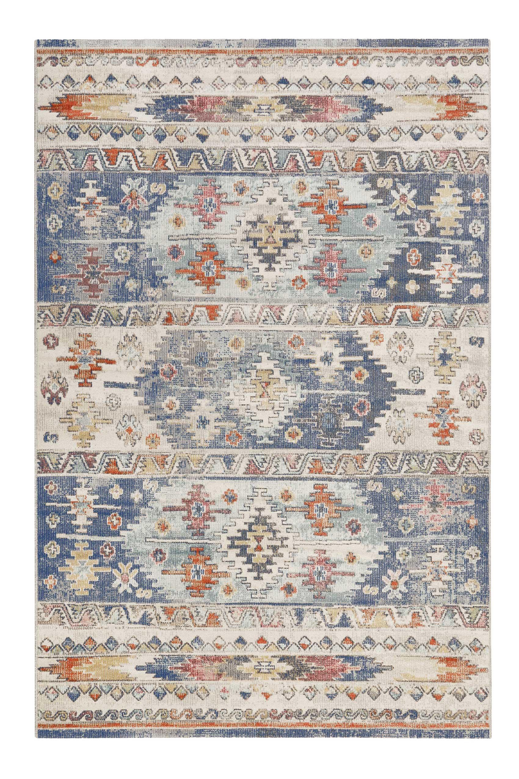 Tapis tissé plat motif kilim vintage indoor/outdoor bleu 290x200