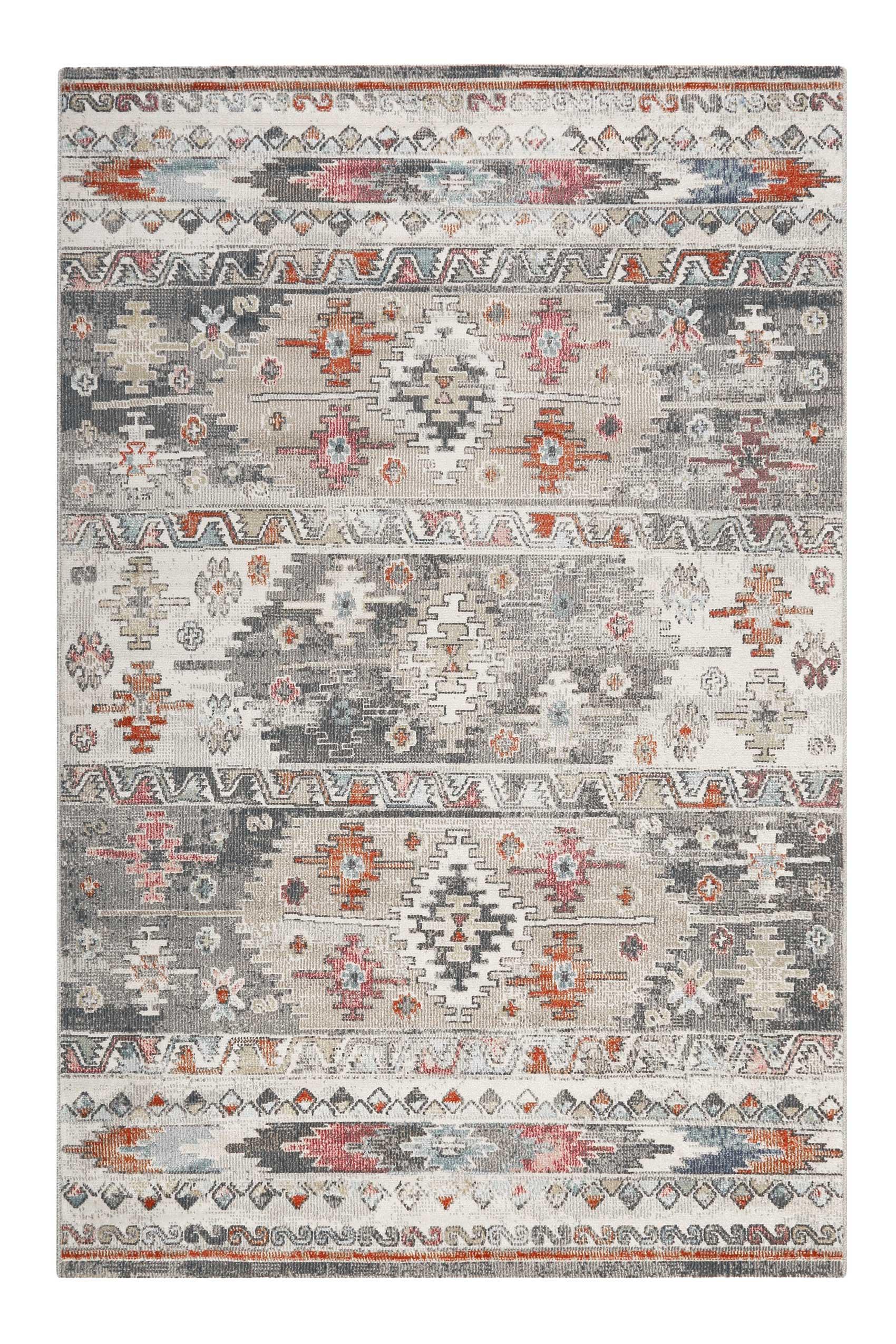 Tapis tissé plat motif kilim vintage indoor/outdoor gris 200x133