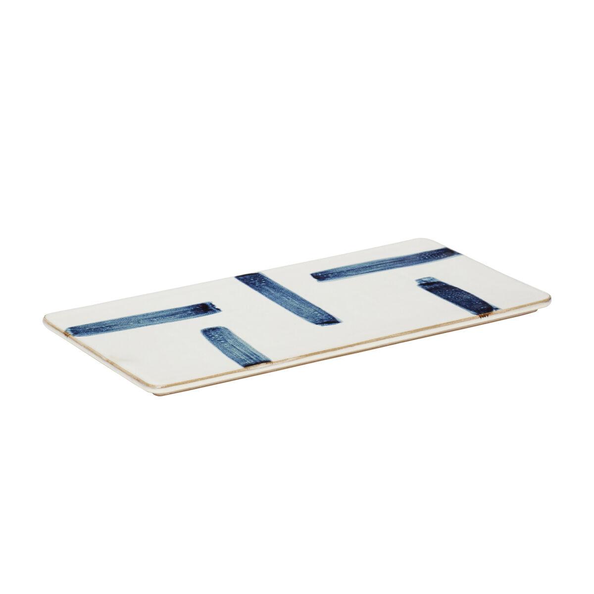 Assiette en porcelaine blanc et bleu L31