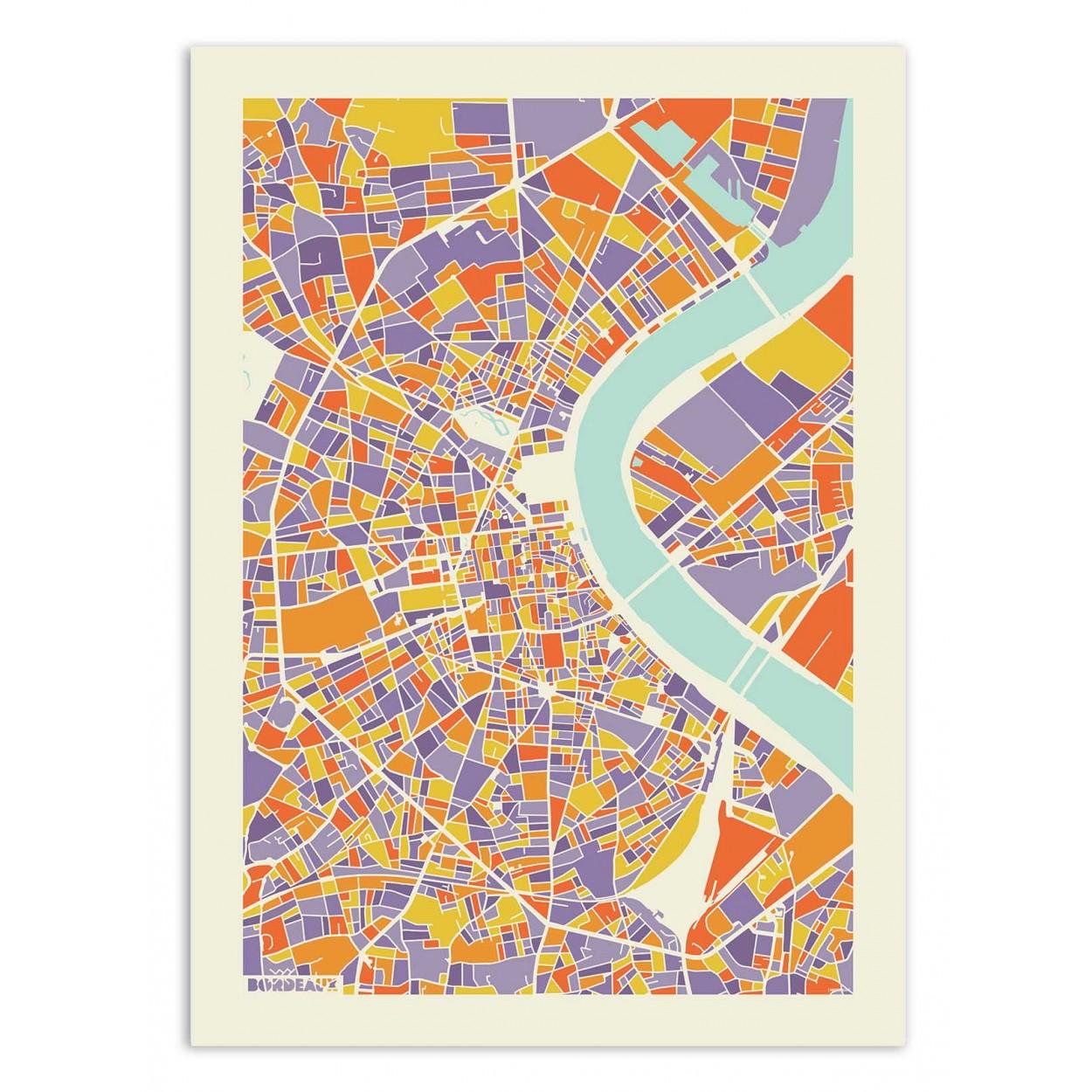 BORDEAUX RAINBOW MAP - Affiche d'art 50 x 70 cm - Muzungu