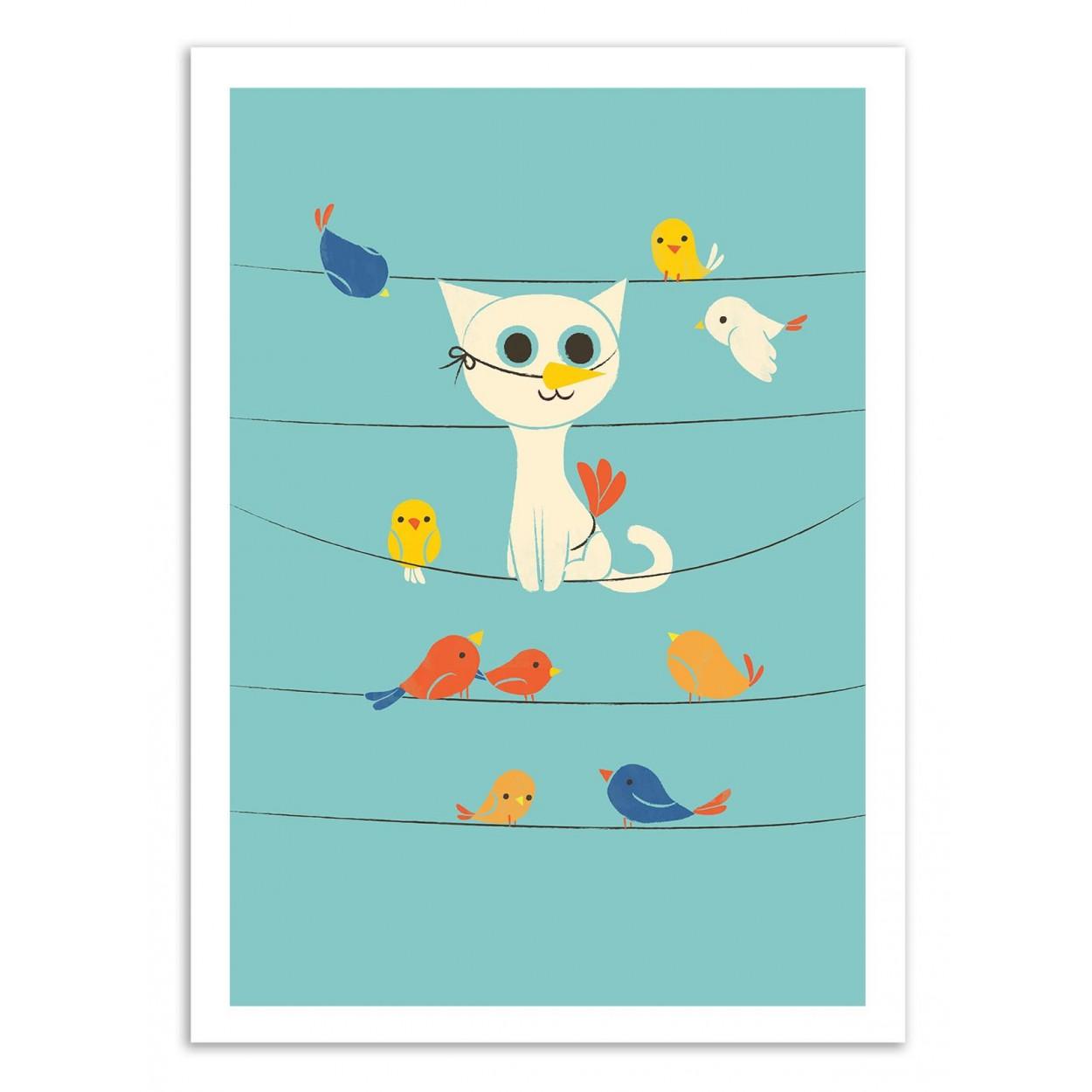 BIRD WATCHING -  Affiche d'art 50 x 70 cm