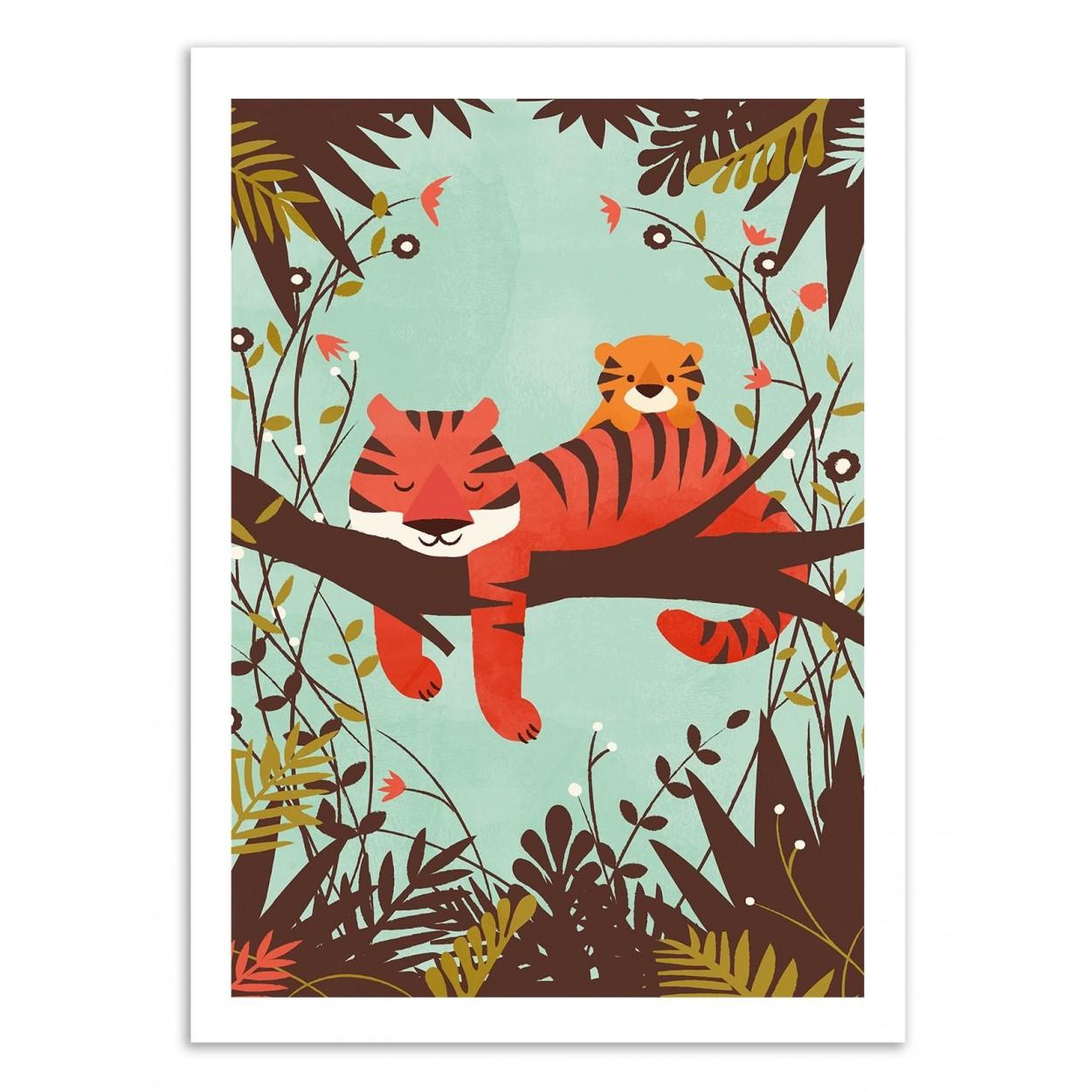 SLEEPING TIGER -  Affiche d'art 50 x 70 cm
