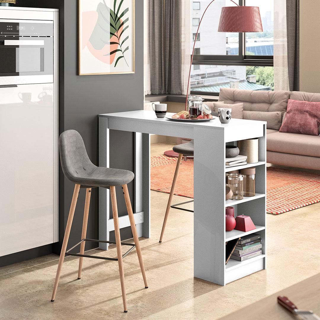Table et chaises  effet bois Blanc - Gris anthracite