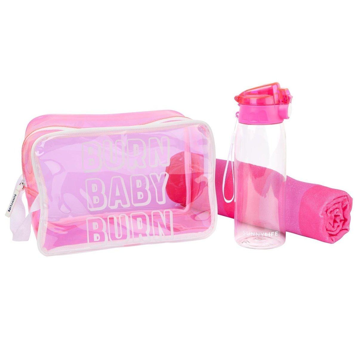Kit de sport rose - bouteille 900 ml et serviette microfibre