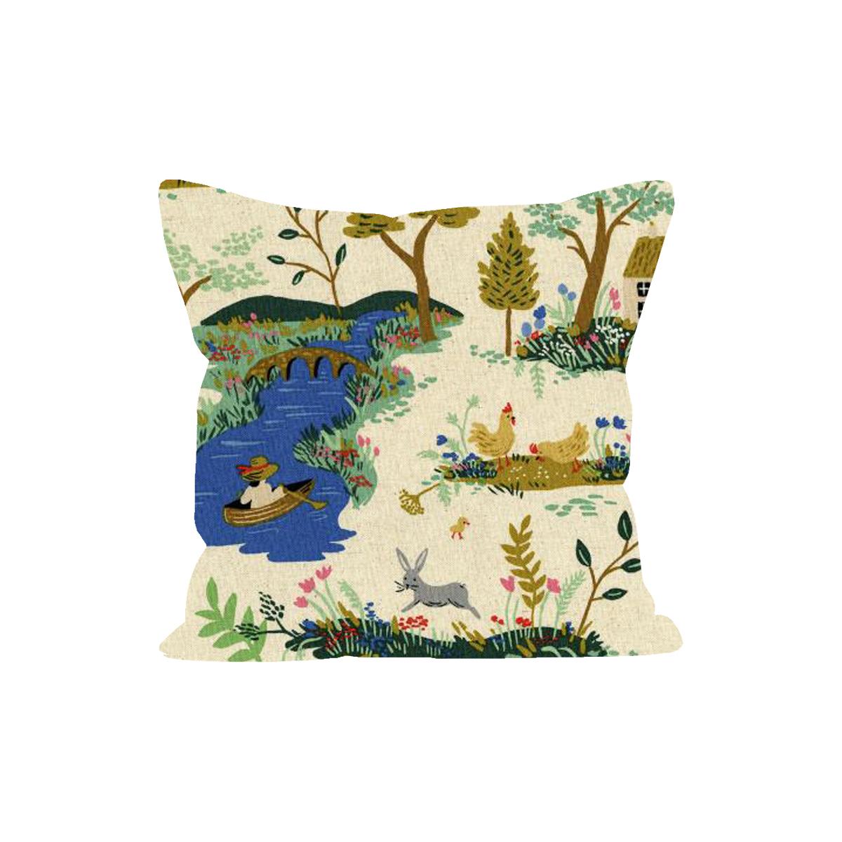 Grand coussin en coton 60x60 cm garden toile