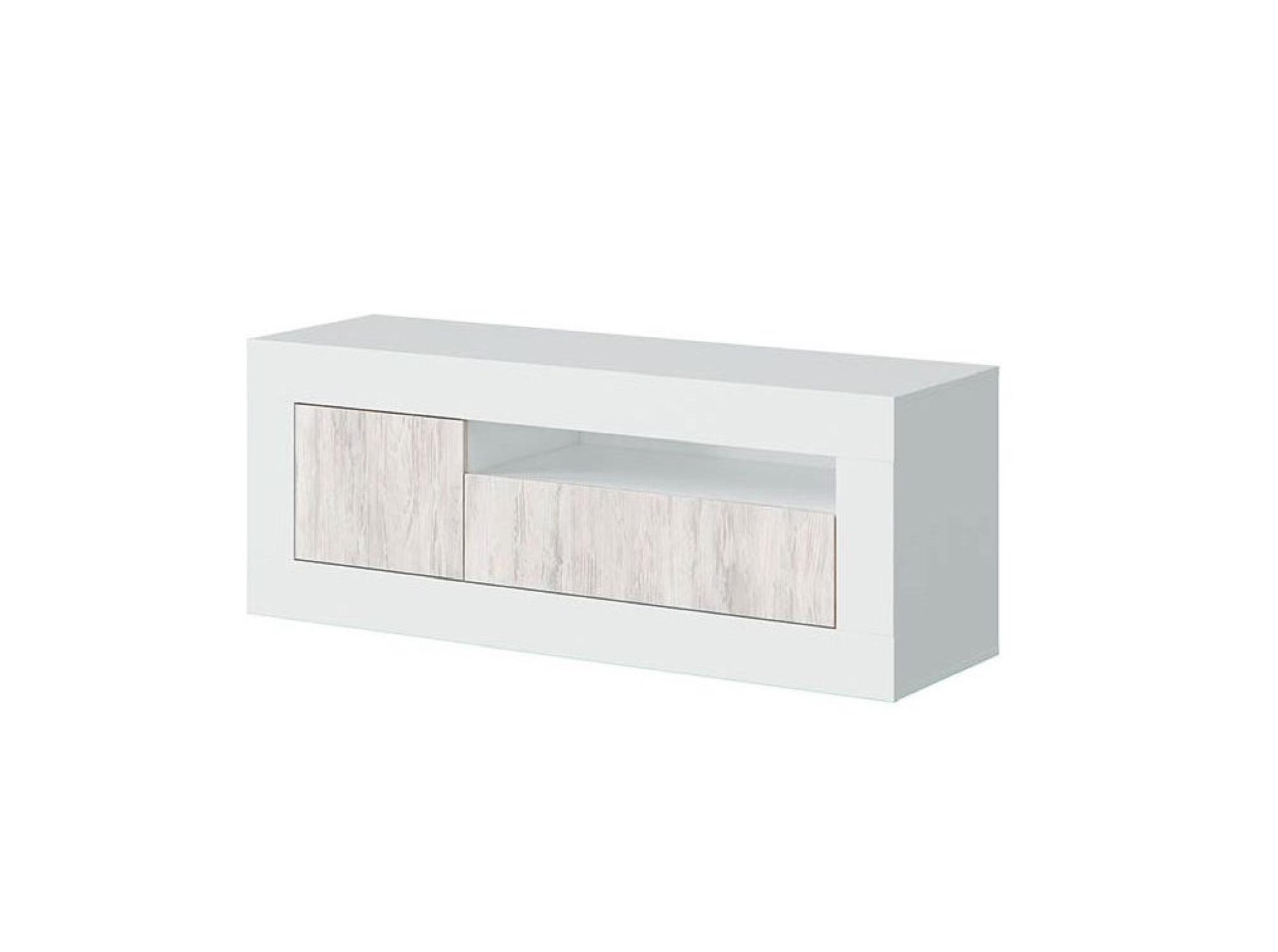 Meuble TV design blanc/bois avec 2 portes L139cm