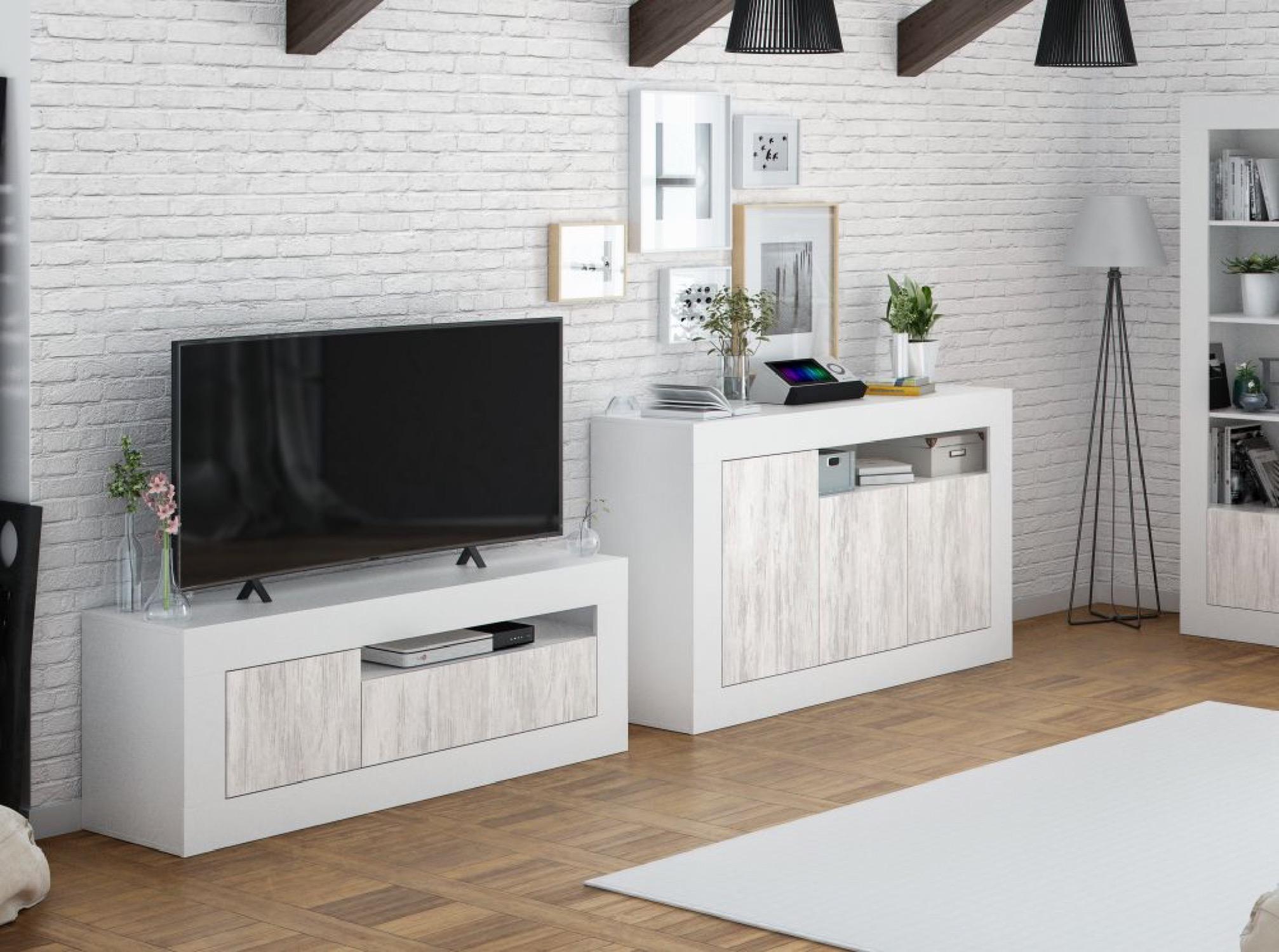 Meuble TV design blanc/bois 3 portes L139cm