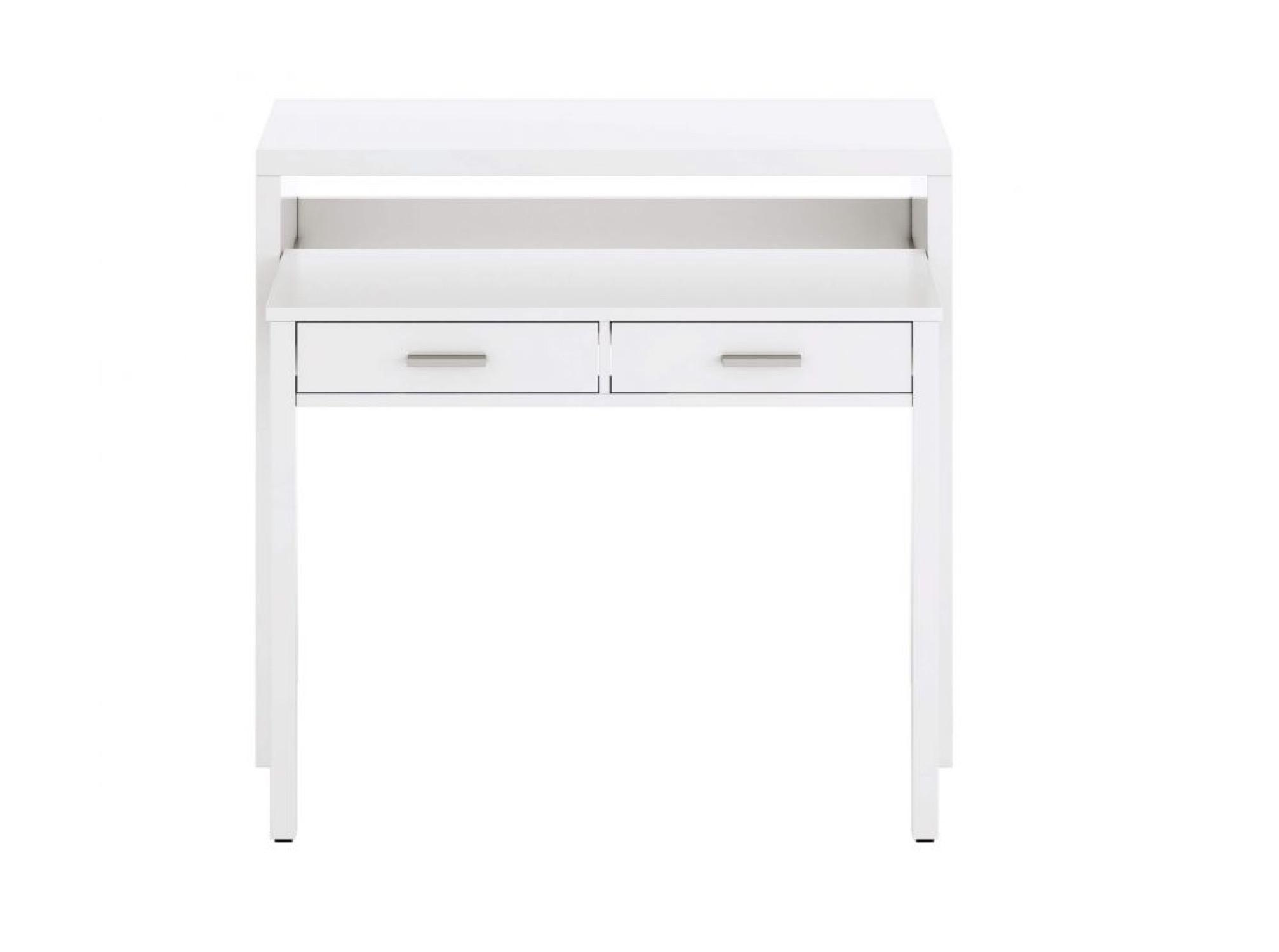Bureau blanc extensible 2 tiroirs L99cm