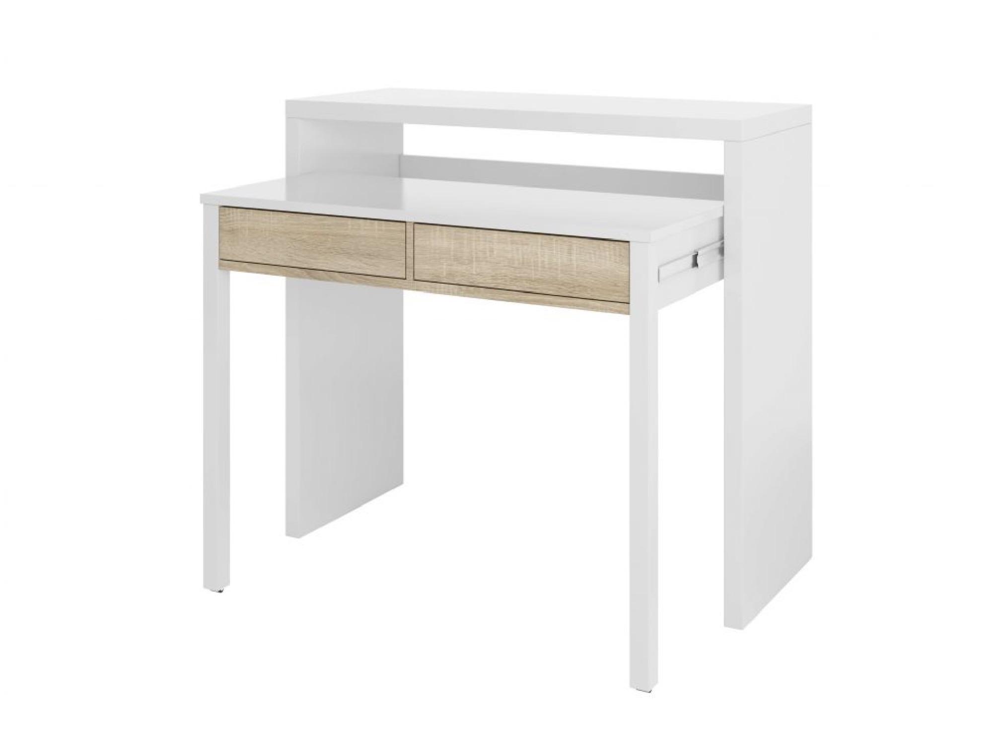 Bureau blanc/bois extensible 2 tiroirs L99cm
