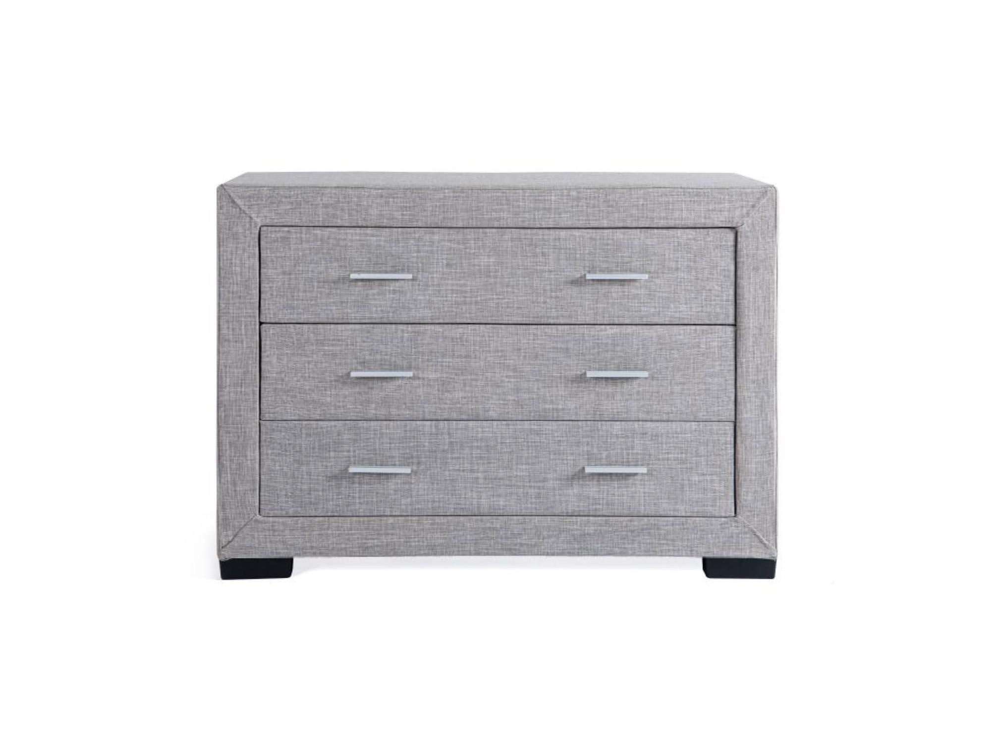 Commode de chambre 3 tiroirs en tissu gris
