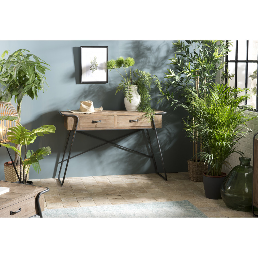 Console 2 tiroirs plateau bois sapin marqueté pieds métal