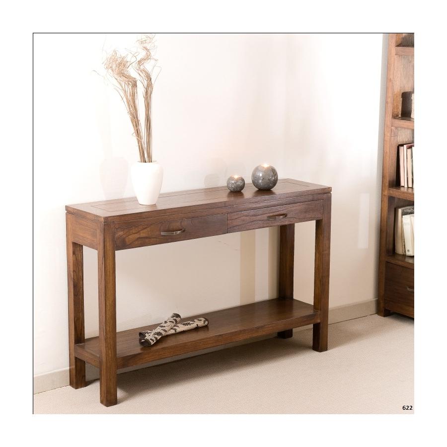Console moderne rectangulaire 2 tiroirs bois