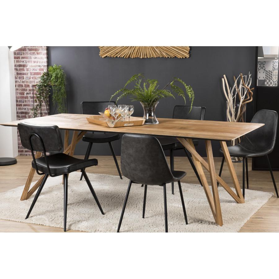 Table à manger bois teck recyclé pieds croisés teck