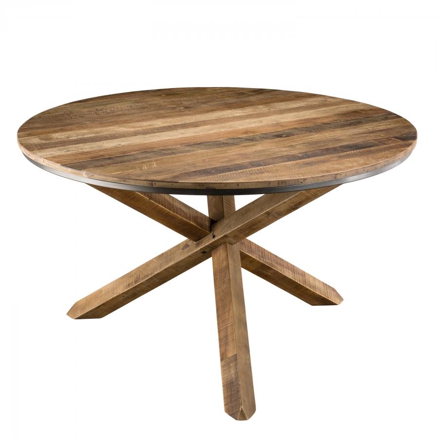 Table à manger pieds croisés bois teck recyclé acacia mahogany
